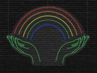 Rainbow Hands Neon