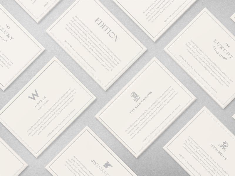 Marriott Fragrance layout resort branding international miami hotel luxury card letterpress