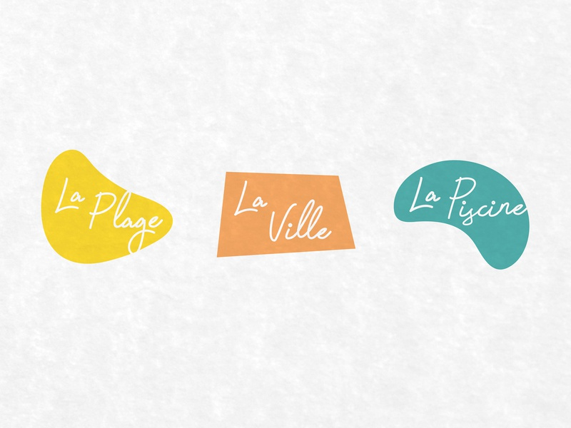 Summering en France branding icons script retro design minimalist city midcentury travel pool beach french