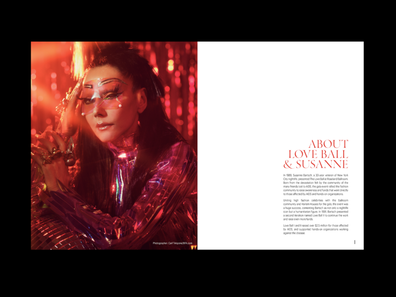 Love Ball 3 Program red events branding print design magazine typography booklet layout programme fashion cfda