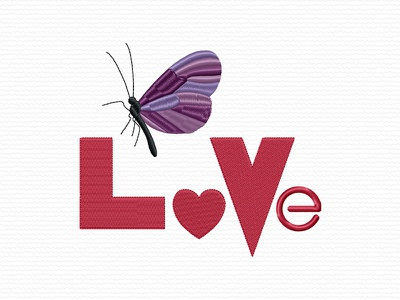 Word Love and Butterfly valentines day valentinesday valentine day valentines valentine butterfly love embroidery digitizing company embroidery digitizing embroidery digitizer embroidery design embroidery