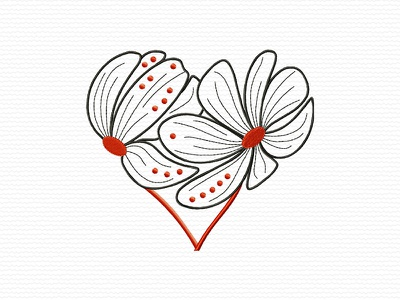Heart Shaped Flowers hearts heart design adobe illustrator flowers flower embroidery digitizing company embroidery digitizing embroidery digitizer embroidery design embroidery