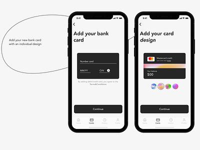 Banking app/Add your bank card minimal app ux typography branding ui vector logo illustration design