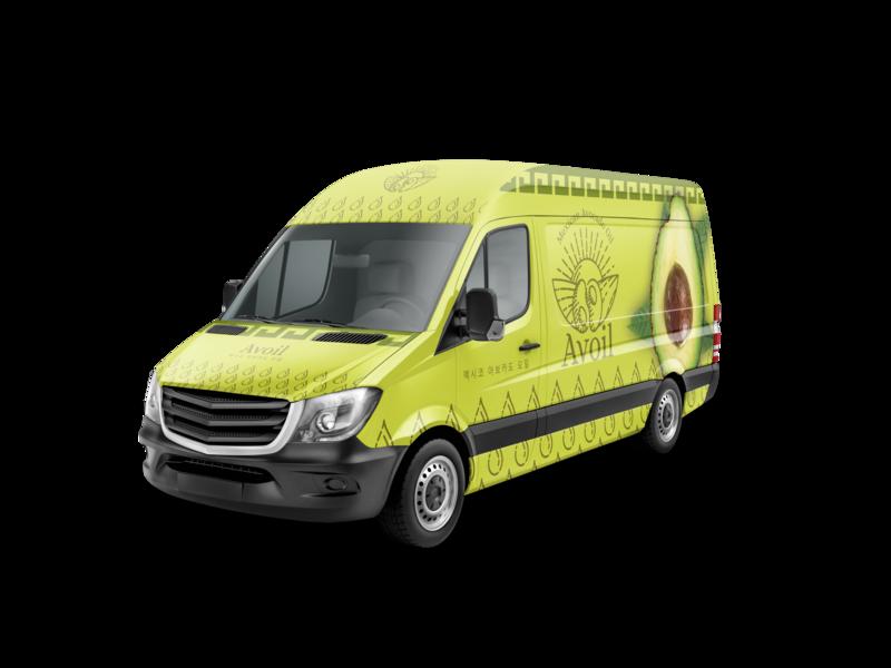 Vehicle Wrap Avoil extra virging oil oil mexico avocado green icon logo brand identity design fleet graphics vinil vehicle van vehicle wrap