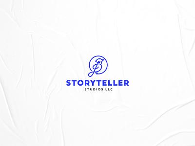 Storyteller Studios brand icon blue stave music studio bird brand identity logo branding design