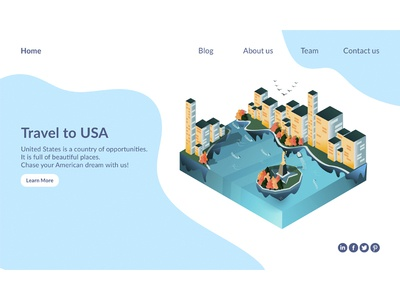 Isometric illustration application in website.
