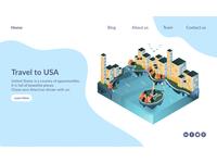 Isometric illustration application in website.