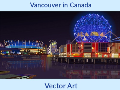 Vancouver in Canada Vector Art