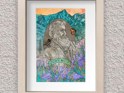 Drawn to Nature – John Muir inktober national parks johnmuir nature mixed media digital ink conservation
