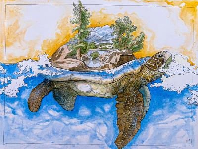 Turtle Island illustration mixedmedia turtle creation story mythology native american nature art