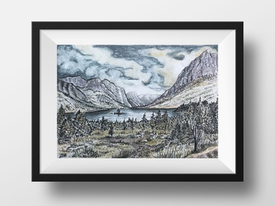 Alpine Lake Landscape in Tinted Charcoal hikeanddraw nature charcoal commission national parks ink illustration