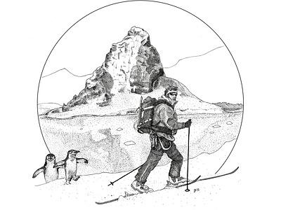 Antarctica Ski Tour Shirt Illustration II shirtdesign design hikeanddraw inktober commission ink nature illustration