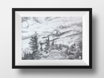 Windy Balsam Peak in Pencil national parks landscapes drawing pencil landscape hikeanddraw commission nature illustration