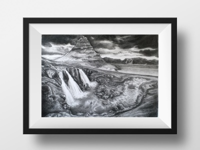 Graphite Study of Kirkjufell on Paper natureart pencildrawing naturedrawinginpencil naturedrawing naturedrawingwithpencil