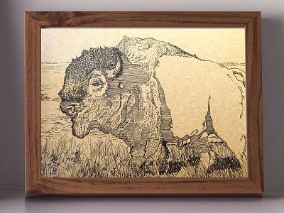 American Bison Commission commission national parks nature wildlife art ink inktober illustration