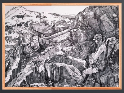 Shuksan landscape mountaineering inktober national parks commission nature ink illustration