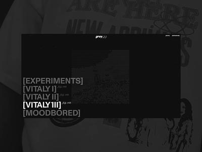 GREYPLAY.LIVE design ui typography animation layout threejs webgl 3d interface interaction webdesign
