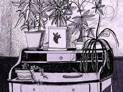 Still Life plants desk purple still life digital color micron sketchbook drawing illustration monochromatic