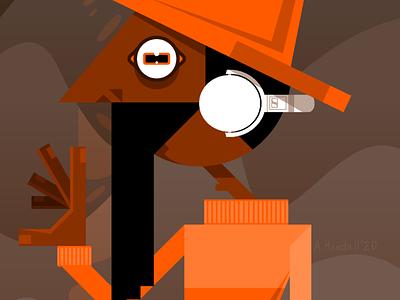 Media Player beard original geometic brown orange landscape desert sand music headphones vlc graphic design design surreal illustration cartoon