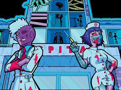 Medical Madness (Commission) commission spooky weird aliens robots nurse doctor t-shirt illustration t-shirt design t-shirt surreal horror commercial art merchandise merch graphic design design illustration cartoon