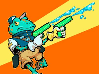 Frog Gunner funny pistol water gun water character design character art art character gunner guns toad frog green yellow orange blue line art design illustration cartoon