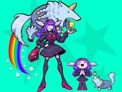 Latali (Commission) uniform school girl stars rainbow unicorn chibi character design commission girl purple hair purple seafoam teal blue cute surreal line art design illustration cartoon