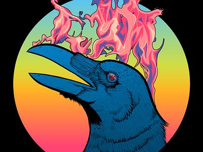 Firebird pink phoenix firebird flame fire ravens raven corvid crows crow logo horror blue merchandise merch surreal line art design illustration cartoon