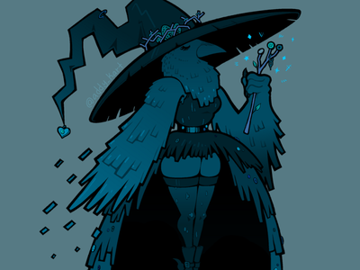 Crow Witch original character feathers wand magic witch furry anthro bird corvid raven crow horror character design blue cute line art design illustration cartoon
