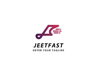 Logo letter J + F letter j fast concept logo speed