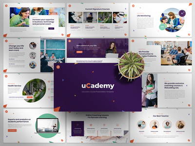 uCademy - Education Courses PowerPoint Template science school professional library learning learn knowledge kids graduation education e-learning diploma course computer college classroom class certificate book academic