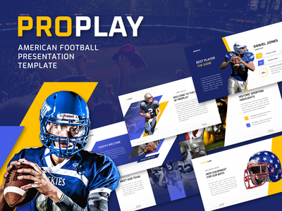 Proplay - American Football Sport PowerPoint Presentation Templa modern marketing infographic games football flow event esport dynamic diagram dark creative competition chart business biz animated analysis american agency