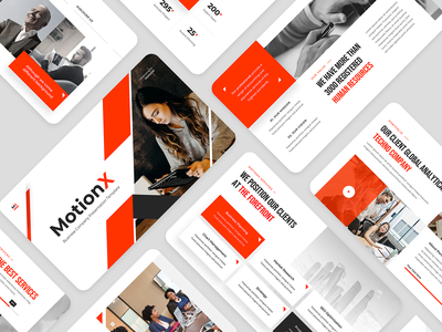 MotionX - Corporate Business Presentation Template red education ecommerce digital marketing courses company profile business plan annual report advertising slides powerpoint corporate company agency presentation clean business modern creative
