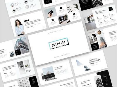 MIMIN - Minimalism Presentation Templates googleslides keynote black  white minimalism minimal simple company agency professional powerpoint slides modern presentation clean business creative