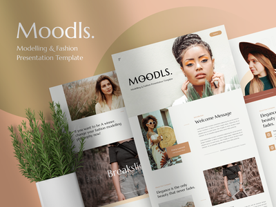 Moodls – Modelling & Fashion Presentation Template design professional presentation modeling makeup lifestyle hypebeast fashion creative company clothing clean business brand beauty artist agency
