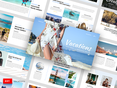 Vacations - Presentation Template professional presentation powerpoint nature modern mockup mock up minimalistic minimalist map light itinerary hotel creative country company clean business agency adventure