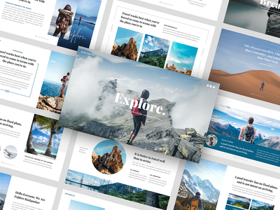 Explore - Backpacker PowerPoint Template presentation pptx powerpoint portfolio planning nature mountain minimal presentation landscape hotel holiday hiking design creative corporate colourful best powerpoint backpacker adventure