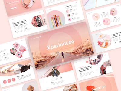 Xperiencee - Creative Presentation Template unique studio soft pink slides professional presentation powerpoint portfolio pink photography modern magenta deck creative corporate company clean business agency