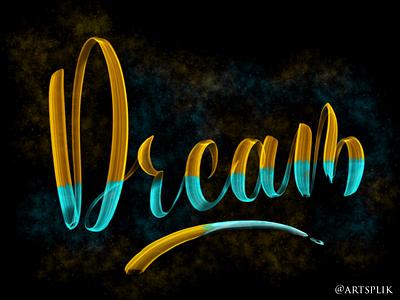 Lettering on Procreate dream smokebrush procreate digitallettering lettering handlettering calligraphy