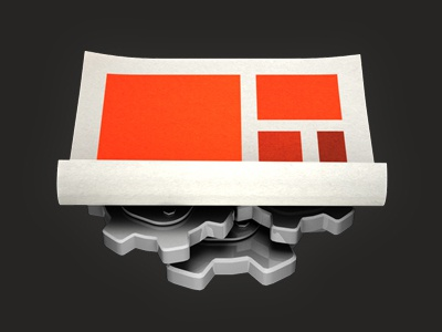 HTML5 tech icon html5 icon orange paper 3d cogs