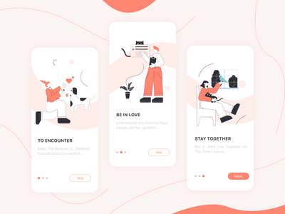 A guide page for a pet app ui illustration app