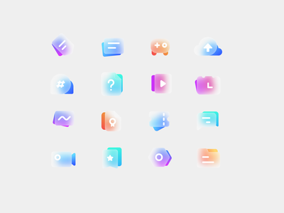 Frosted glass colorful Icon ui icon illustration design