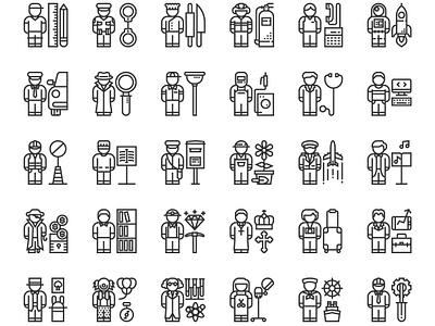 **Freebie** 30 People Profession Icons  character ui flat unique career profession free freebie avatar people icon