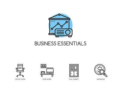 **Freebie** 32 Business Essentials Icons  illustrator freebie ui free essential business document computer cabinet file