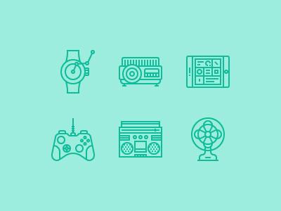 Technology Devices projector fan joystick camera dslr smart tv tablet smartphone smartwatch icon vector