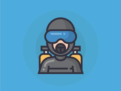 Diver diver illustrator man people illustration character icon