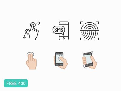 ** Freebies ** 430 Hand Gesture Icons  touch id fingerprint finger click smartphone gestures illustrator ui flat free freebie icon