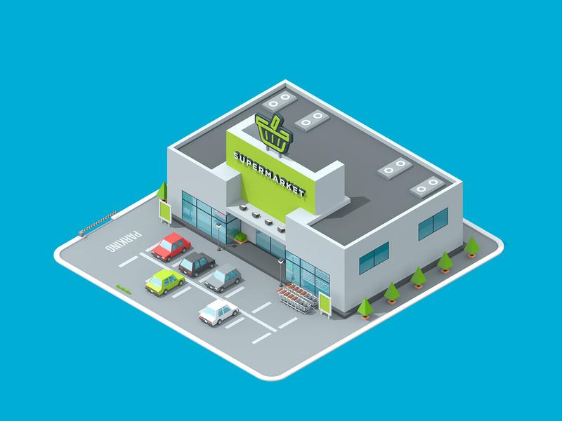 LogicSource - We See Profit All Around You - Supermarket building shop store supermarket motion graphics motion designer motion design motion isometric 3d illustration illustration c4d cinema 4d