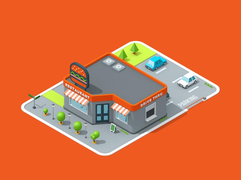 LogicSource - We See Profit All Around You - Restaurant building shop store restaurant motion graphics motion designer motion design motion isometric 3d illustration illustration c4d cinema 4d