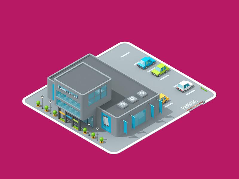 LogicSource - We See Profit All Around You - Electronics building shop store electronics motion graphics motion designer motion design motion isometric 3d illustration illustration c4d cinema 4d