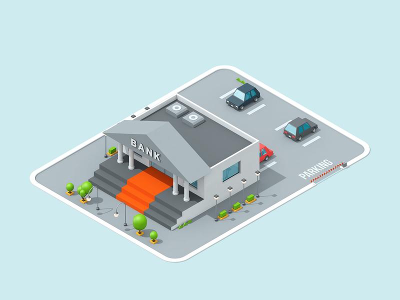 LogicSource - We See Profit All Around You - Bank building shop store motion graphics motion designer motion design motion isometric isometric illustration isometric building 3d illustration illustration c4d cinema 4d